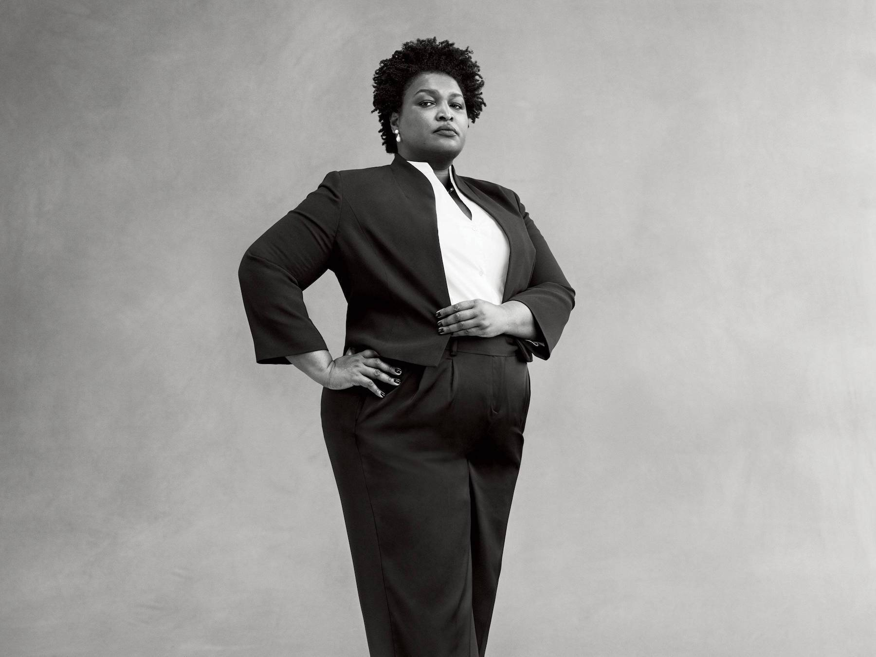 Stacey Abrams in a black and white portrait. Photo by Ethan James Green in September 2019 for Vogue.