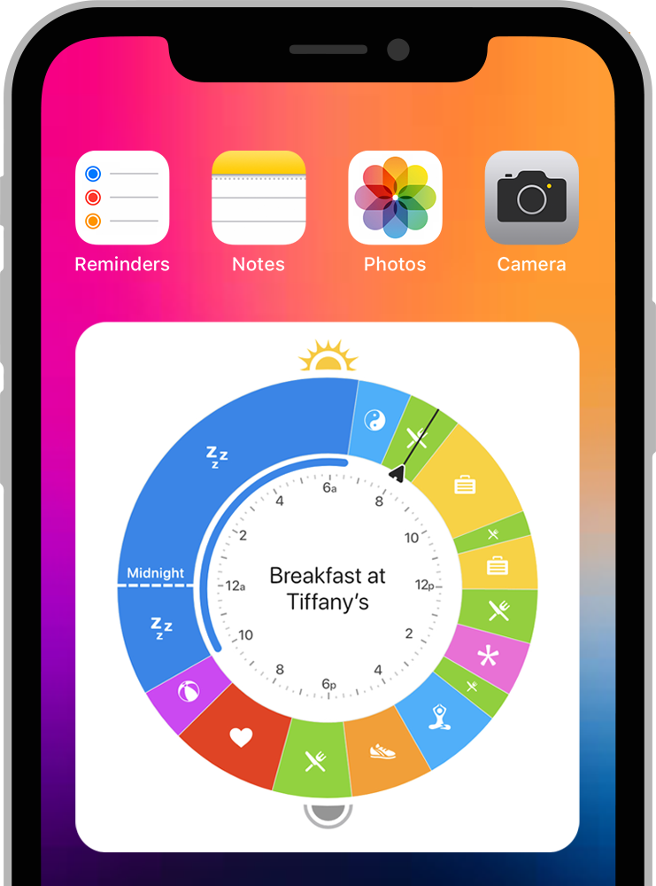 The new Owaves' Clock Widget, which shows your full 24-hour day plan or O at a glance, with all of your daily activities