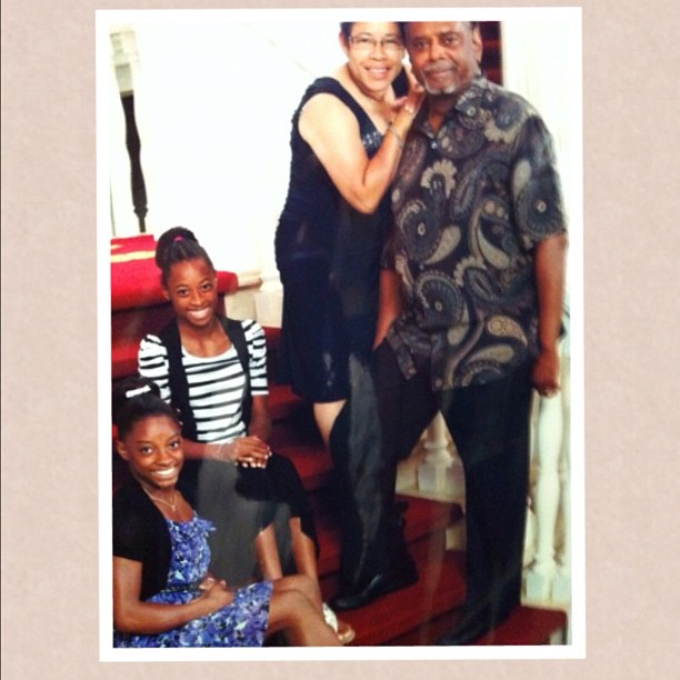 A young Biles with her sister, Adria, and grandparents, Nellie and Ron, back in 2012.
