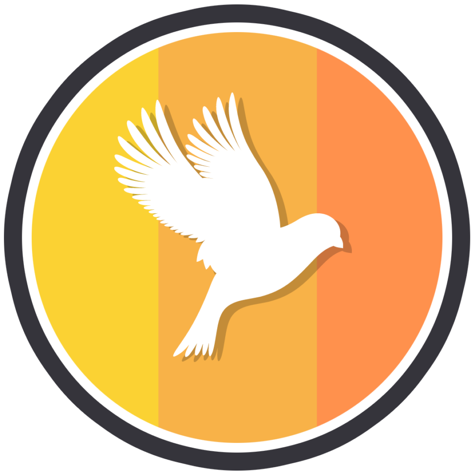 Icon of a white lark, amidst a background of yellow, light orange, and dark orange banners. Icon is also enclosed in a circle, with a white and black rim.