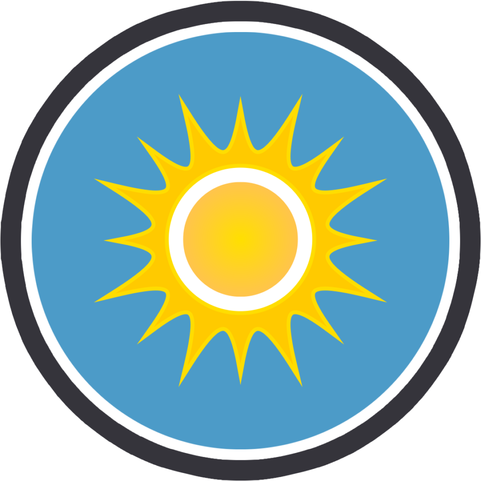 Sun icon enclosed in a circle with a blue background. The circle has a black-and-white rim.