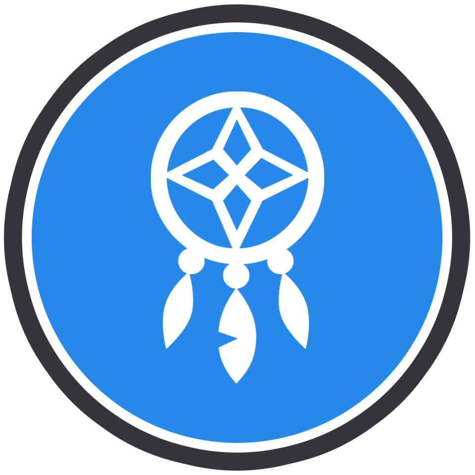 A white dreamcatcher icon, signifying sleep, enclosed in a blue circle. The blue circle has a white ring around it, and then there is also a black ring around the white ring.