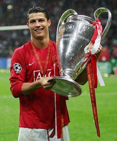 Cristiano Ronaldo holding up the European Cup with pride in 2008.