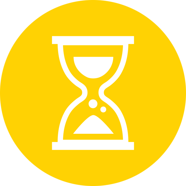 "An Owaves activity icon, which consists of a white hourglass icon within a yellow bubble. The yellow color signifies the ""Work"" activity in the Owaves app."