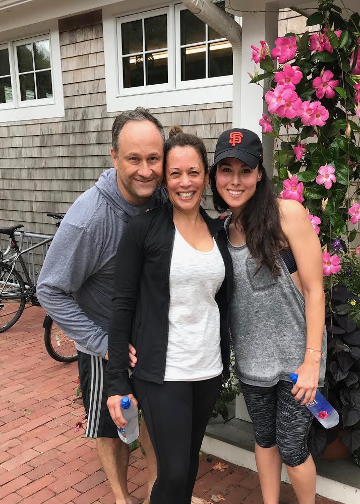 Kamala Harris exercising with her husband and niece.