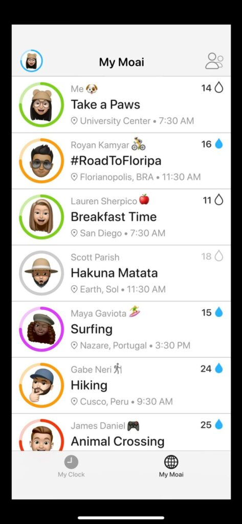 A phone screen displays the My Moai Feed. The My Moai feed shows a person's friends and what activities they are currently up to.