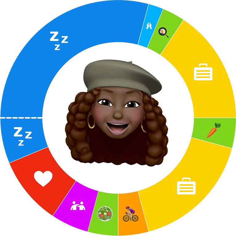 A Memoji of a smiling African-American girl placed in the center of an O, or a 24-hour day plan.
