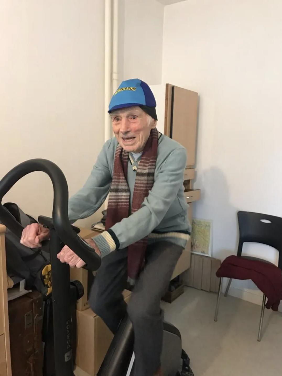 Robert Marchand on his exercise bike