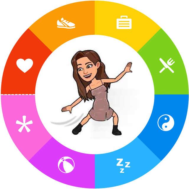 "An Owaves ""O,"" with the eight activity icons--Love, Move, Work, Eat, Sleep, Relax, Play, and Flow--along the rim, and the author Serene's Bitmoji dancing in the center."