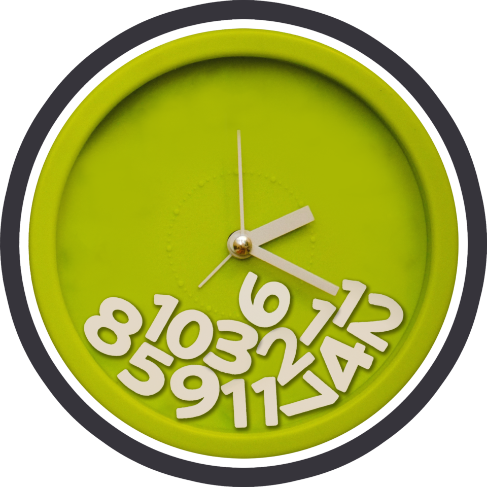 Green clock with a white and black outline, that features numbers that have fallen in a pile to its bottom.