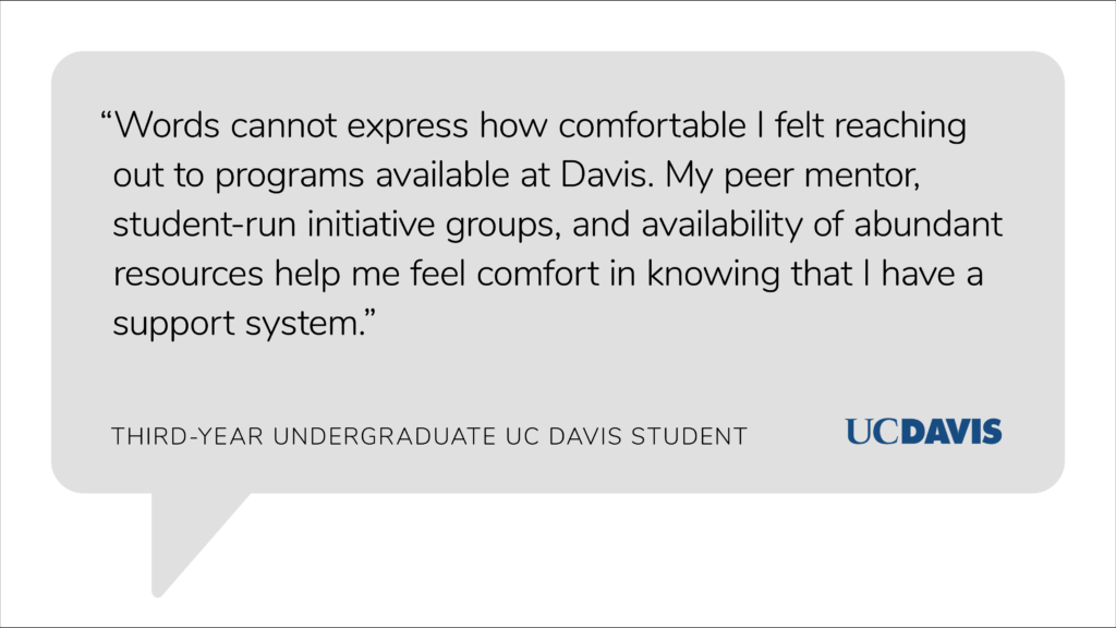 "Quote by an undergraduate student from UC Davis that says, ""Words cannot express how comfortable I felt reaching out to programs available at Davis. My peer mentor, student-run initiative groups, and availability of abundant resources help me feel comfort in knowing that I have a support system."""