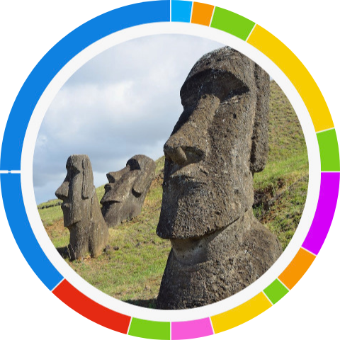 #MyMoai--Moai statues are shown on a green hill